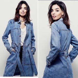 Free people long denim belted  fall coat.